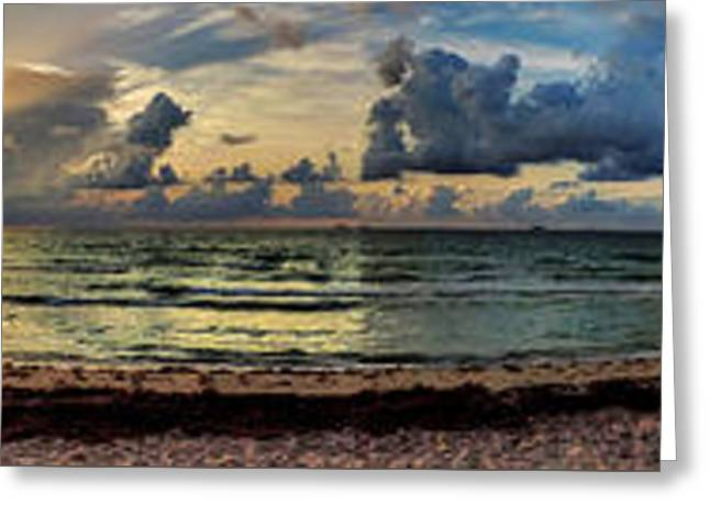Beaches Greeting Cards - Miami - South Beach Pano 004 Greeting Card by Lance Vaughn