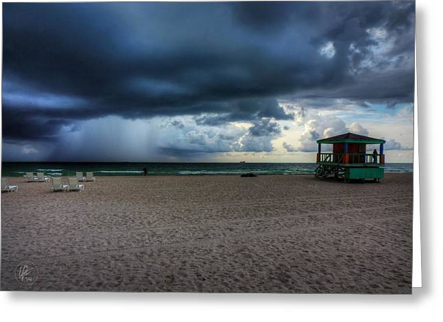 South Beach Greeting Cards - Miami - South Beach Storm 002 Greeting Card by Lance Vaughn