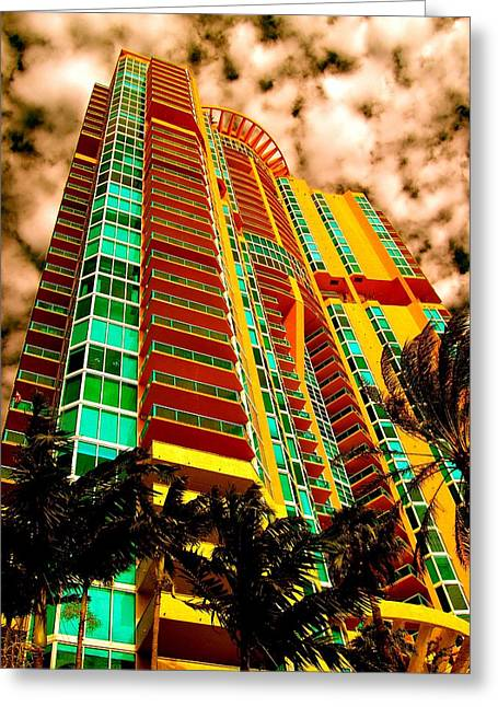 Florida House Greeting Cards - Miami South Pointe II Greeting Card by Monique Wegmueller