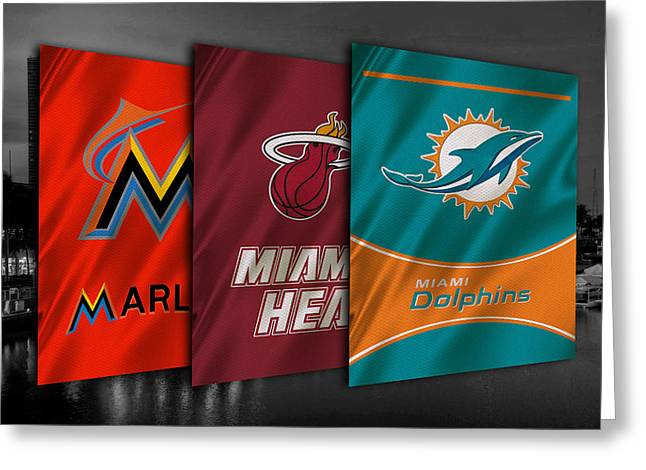 Nba Iphone Cases Greeting Cards - Miami Sports Teams Greeting Card by Joe Hamilton