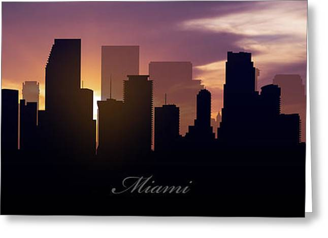 Metropolitan Greeting Cards - Miami Sunset Greeting Card by Aged Pixel