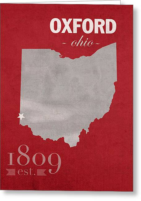 Miami Mixed Media Greeting Cards - Miami University of Ohio RedHawks Oxford College Town State Map Poster Series No 064 Greeting Card by Design Turnpike