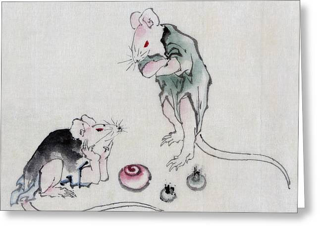 Mouse Drawings Greeting Cards - Mice in Council Greeting Card by Katsushika Hokusai