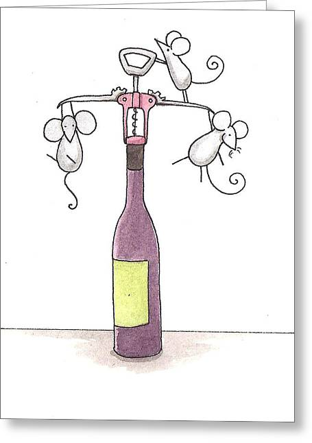 Corkscrew Art Greeting Cards - Mice with Wine Greeting Card by Christy Beckwith