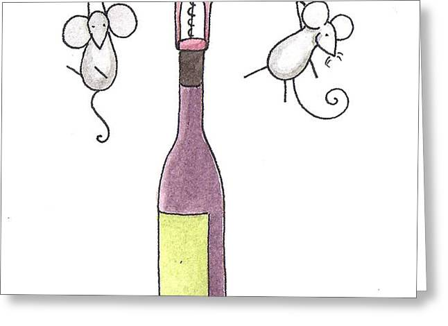 Mice with Wine Greeting Card by Christy Beckwith