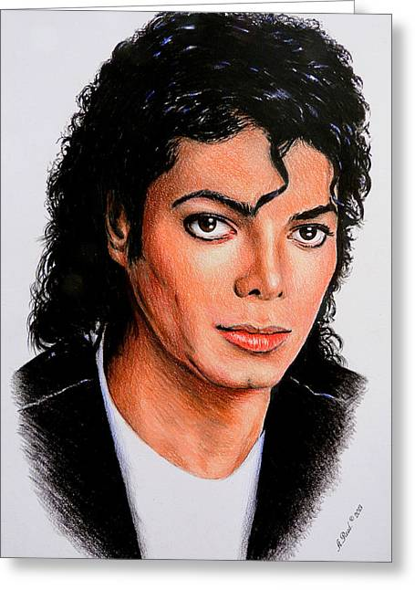 Famous Person Drawings Greeting Cards - Michael Greeting Card by Andrew Read