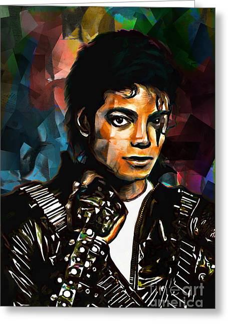 Michael Jackson Greeting Cards - Michael Greeting Card by Andrzej Szczerski