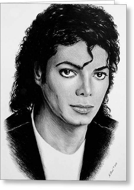 Billie Jean Greeting Cards - Michael b/w version Greeting Card by Andrew Read