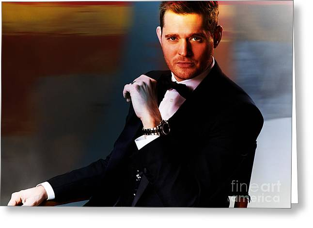 Michael Buble Greeting Card by Marvin Blaine