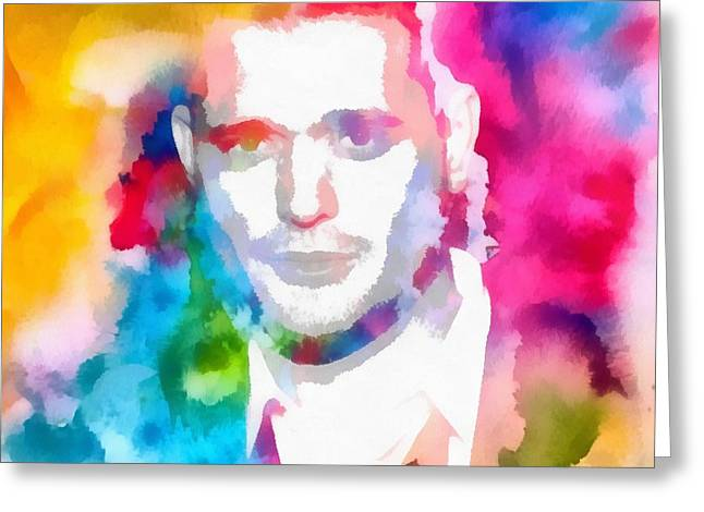 Colored Bubles Greeting Cards - Michael Buble Watercolor Portrait Greeting Card by Dan Sproul