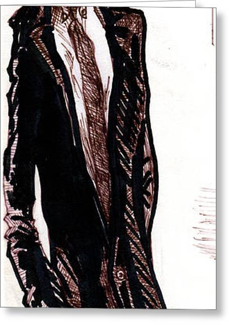 Pen And Ink Drawing Greeting Cards - Michael Crichton Greeting Card by Del Gaizo