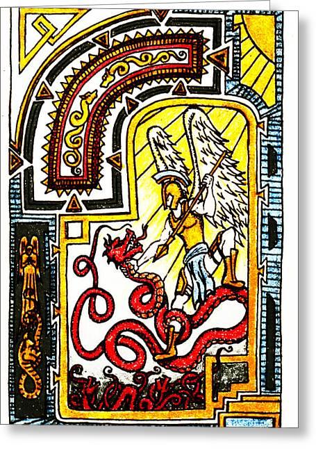 Illuminate Drawings Greeting Cards - Michael Defeating Satan Greeting Card by Michael Lee