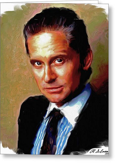 Allen Glass Greeting Cards - Michael Douglas Greeting Card by Allen Glass