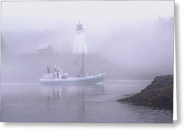 Maine Lighthouses Greeting Cards - Michael Eileen Passing Thru Lubec Narrows Greeting Card by Marty Saccone