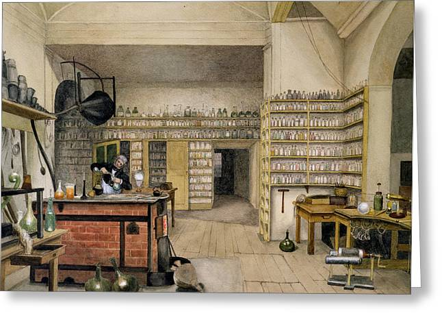Experiment Greeting Cards - Michael Faraday 1791-1867 In His Basement Laboratory, 1852 Wc On Paper Greeting Card by Harriet Jane Moore