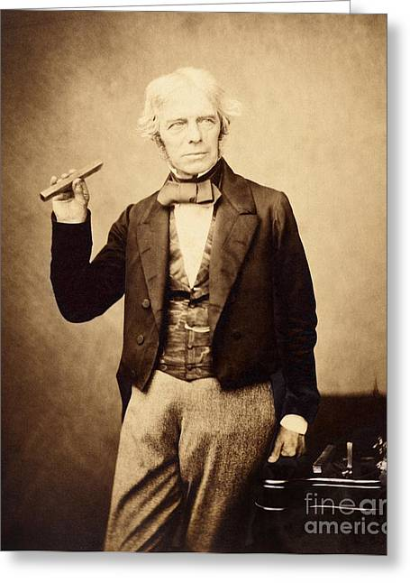 British Celebrities Photographs Greeting Cards - Michael Faraday, British Physicist Greeting Card by Royal Institution Of Great Britain