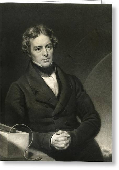 British Portraits Greeting Cards - Michael Faraday, British physicist Greeting Card by Science Photo Library