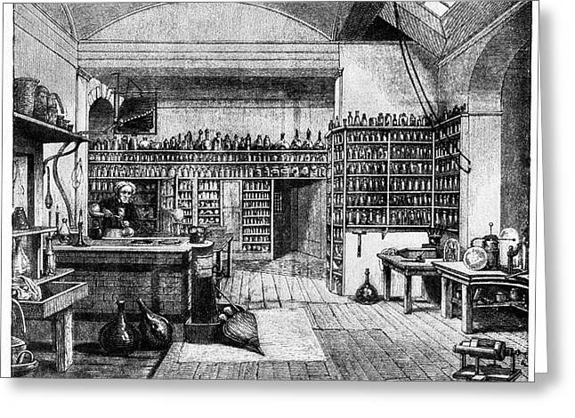 Michael Faraday In His Lab Greeting Card by Cci Archives