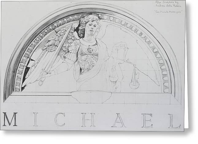 Archangel Drawings Greeting Cards - Michael Greeting Card by Glenn Boyles