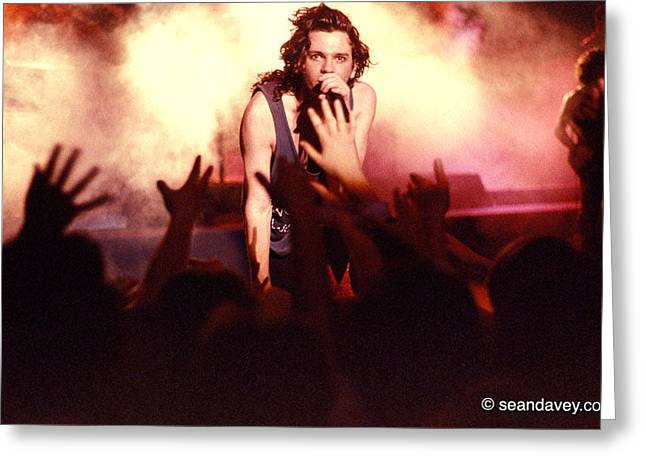 Michael Photographs Greeting Cards - Michael Hutchence and INXS 1985 Greeting Card by Sean Davey