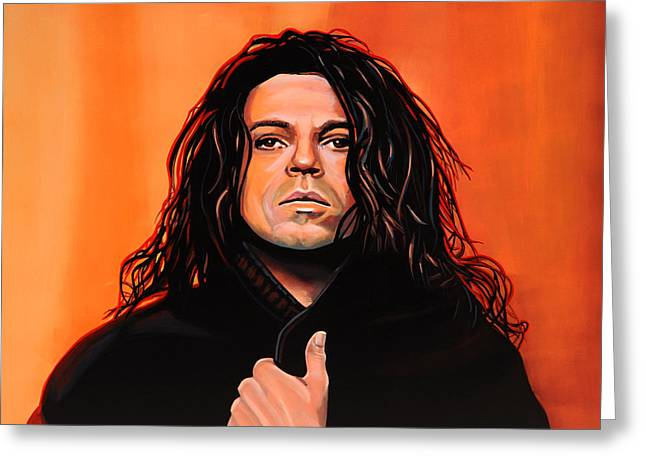Dogs In Art Greeting Cards - Michael Hutchence Greeting Card by Paul Meijering