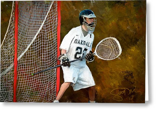 Scott Melby Greeting Cards - Michael in Goal Greeting Card by Scott Melby
