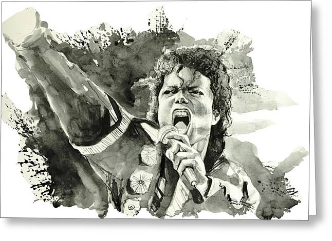 King Of Pop Drawings Greeting Cards - Michael Jackson 2 Greeting Card by MB Art factory