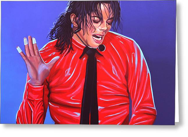 Entertainer Greeting Cards - Michael Jackson 2 Greeting Card by Paul Meijering