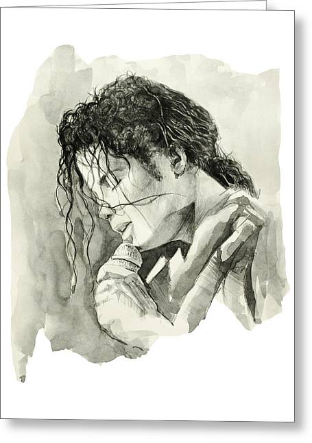 King Of Pop Drawings Greeting Cards - Michael Jackson 3 Greeting Card by MB Art factory