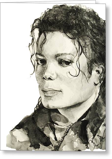 Gloves Drawings Greeting Cards - Michael Jackson 6 Greeting Card by MB Art factory