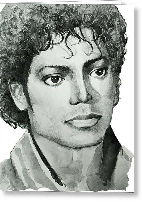 Michael Jackson Greeting Cards - Michael Jackson 7 Greeting Card by MB Art factory