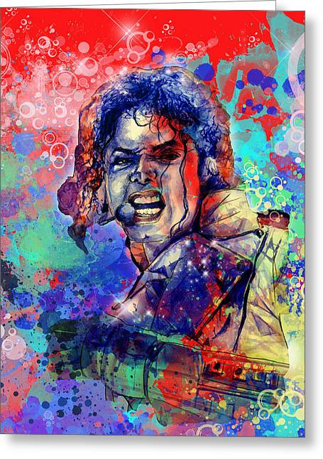 Beat It Greeting Cards - Michael Jackson 8 Greeting Card by MB Art factory