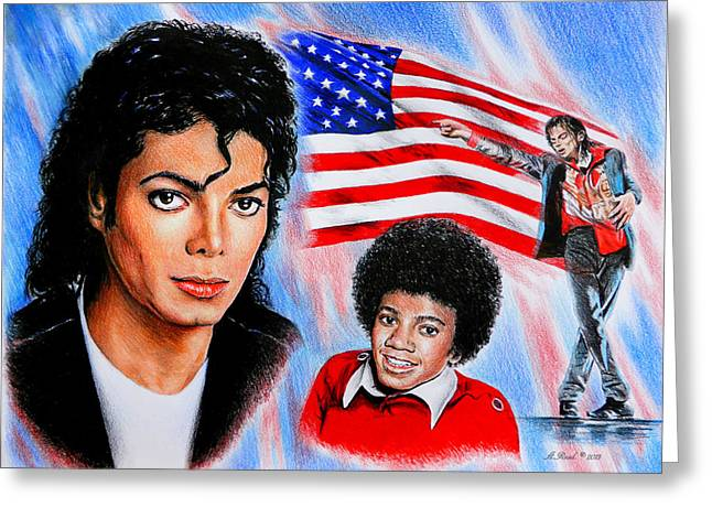 Entertainer Drawings Greeting Cards - Michael Jackson American Legend Greeting Card by Andrew Read