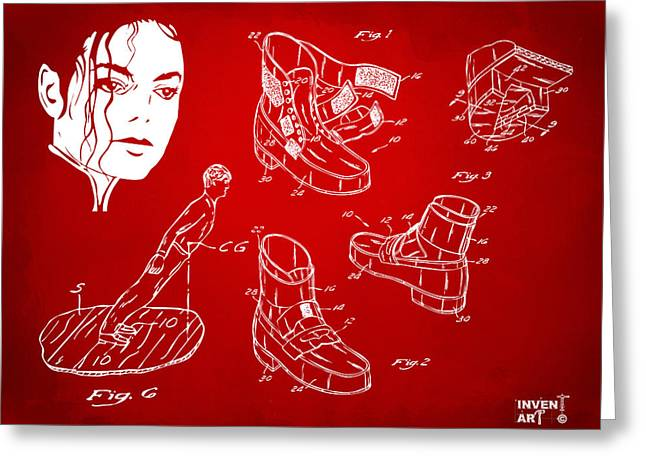 Smooth Criminal Greeting Cards - Michael Jackson Anti-Gravity Shoe Patent Artwork Red Greeting Card by Nikki Marie Smith