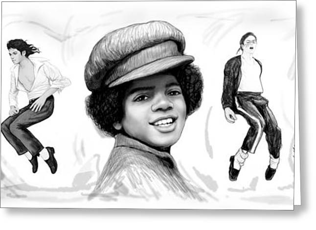 Initial Greeting Cards - Michael Jackson art long drawing sketch poster Greeting Card by Kim Wang