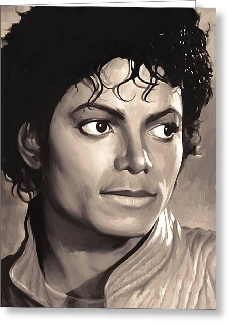 Michael Jackson Greeting Cards - Michael Jackson Artwork 1 Greeting Card by Sheraz A