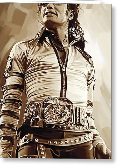 Michael Jackson Greeting Cards - Michael Jackson Artwork 2 Greeting Card by Sheraz A