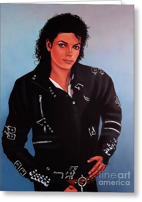 Realistic Paintings Greeting Cards - Michael Jackson Bad Greeting Card by Paul  Meijering
