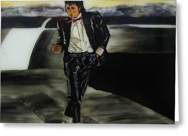 Michael Jackson Glass Art Greeting Cards - Michael Jackson Greeting Card by Betta Artusi