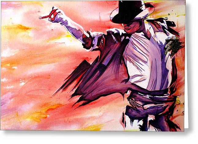 White Paintings Greeting Cards - Michael Jackson-Billie Jean Greeting Card by Joshua Morton