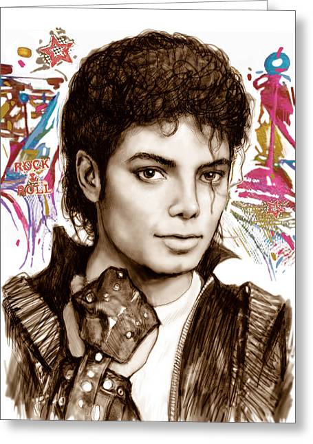 Most Greeting Cards - Michael jackson colour drawing art poster Greeting Card by Kim Wang
