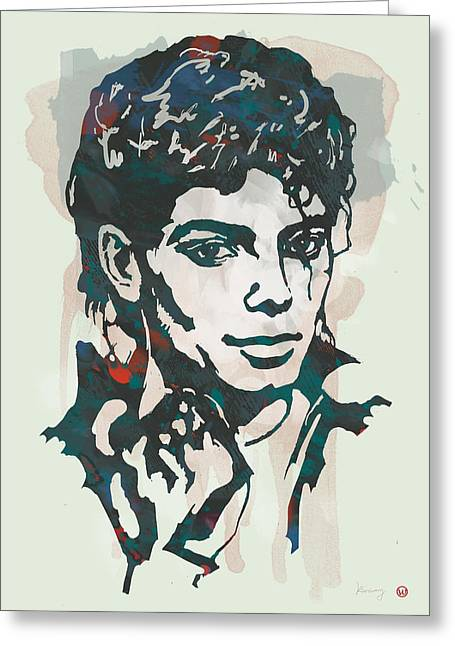 Choreographer Greeting Cards - Michael Jackson etching pop art poster Greeting Card by Kim Wang