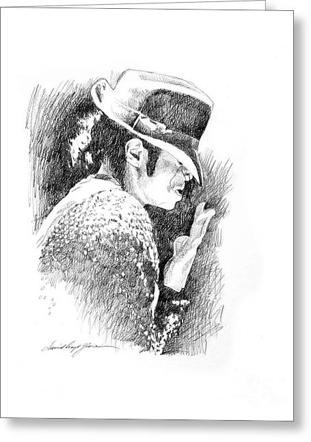Michael Jackson Greeting Cards - Michael Jackson Hat Greeting Card by David Lloyd Glover