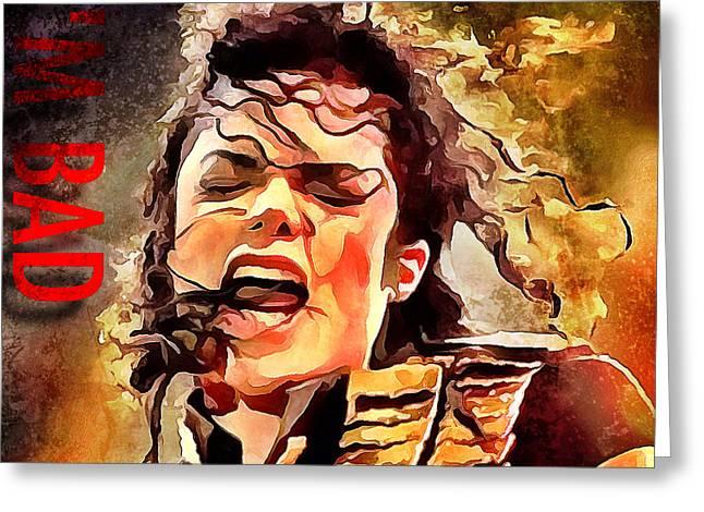 Michael Jackson Greeting Cards - Michael Jackson Im Bad Greeting Card by Yury Malkov