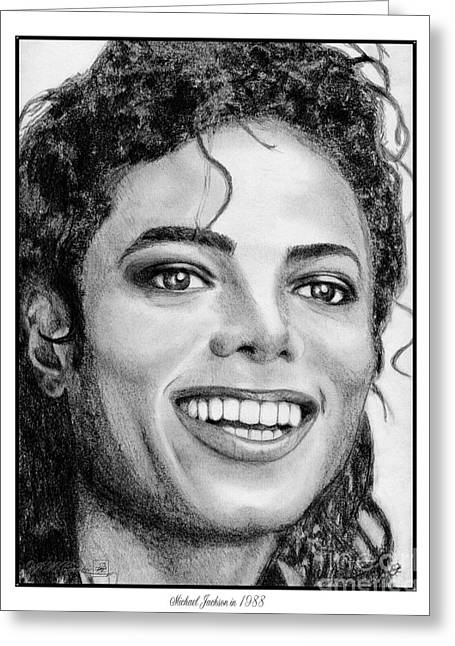 60 Inches Drawings Greeting Cards - Michael Jackson in 1988 Greeting Card by J McCombie
