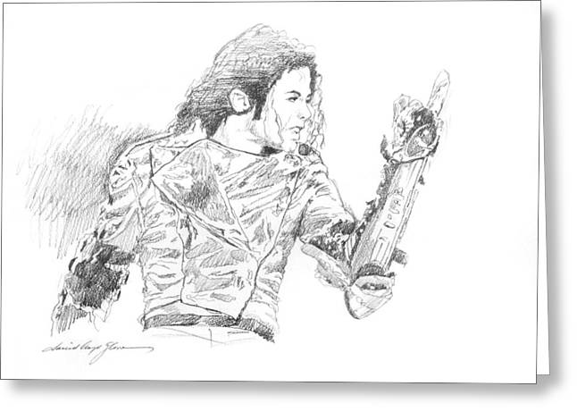 Michael Drawing Drawings Greeting Cards - Michael Jackson Intensity Greeting Card by David Lloyd Glover