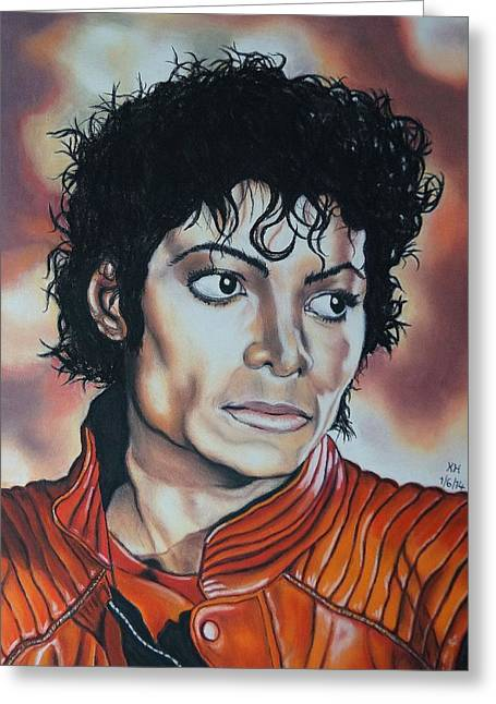 Outfit Pastels Greeting Cards - Michael Jackson Greeting Card by Kevin Hubbard