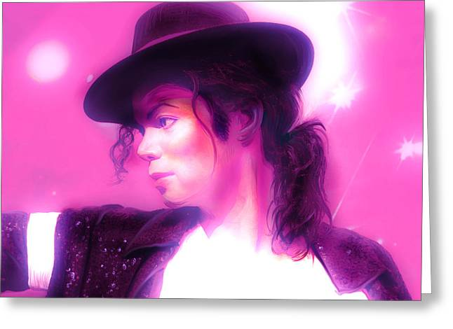 King Of Pop Mixed Media Greeting Cards - Michael Jackson King of pop Greeting Card by Gina Dsgn