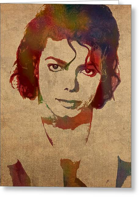 Michael Jackson Greeting Cards - Michael Jackson King of Pop Watercolor Portrait on Worn Distressed Canvas Greeting Card by Design Turnpike