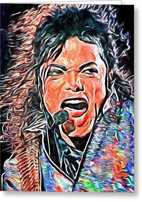 Michael Jackson Greeting Cards - Michael Jackson Live 2 Greeting Card by Yury Malkov